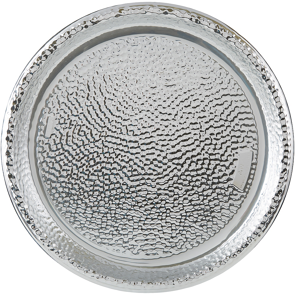 Large Silver Hammered Serving Tray Image #1