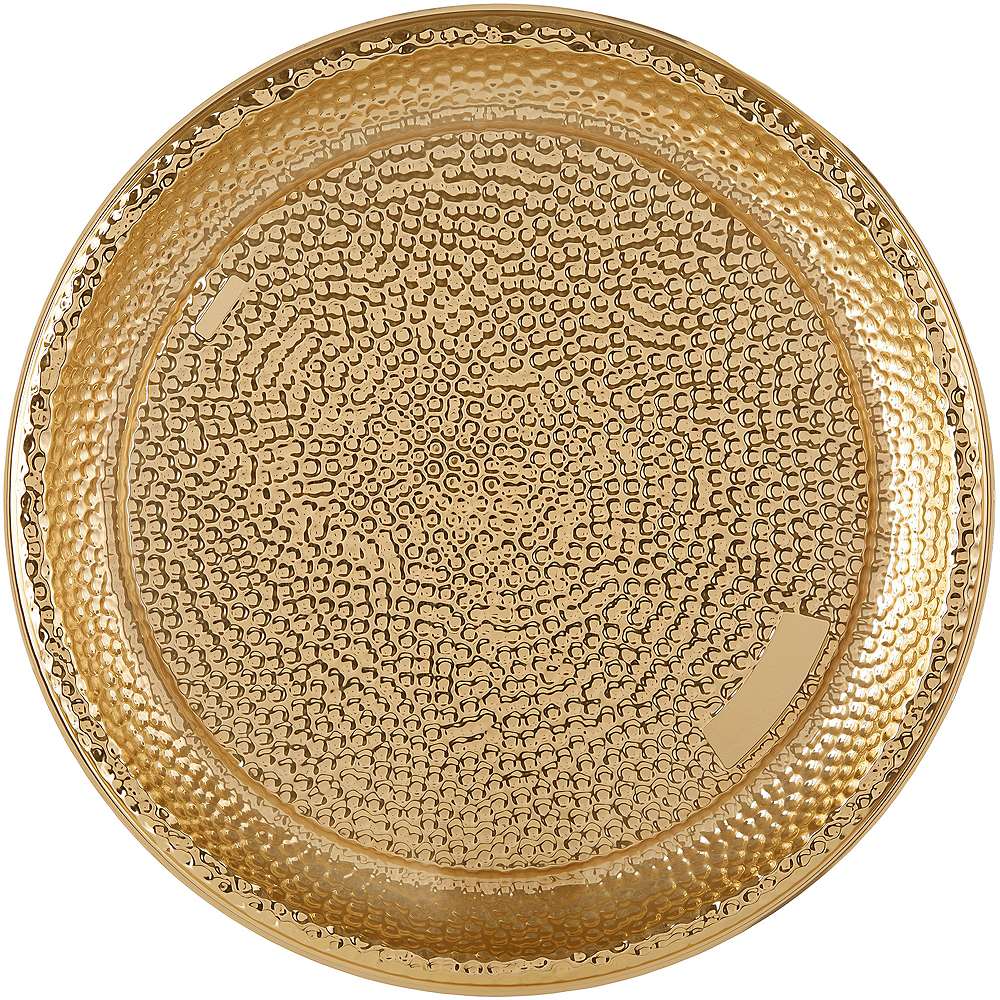 Large Gold Hammered Serving Tray Image #1