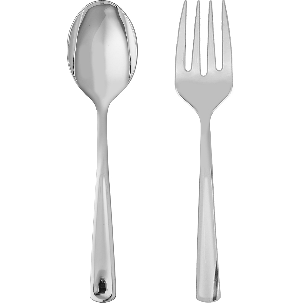 Silver Plastic Serving Forks & Spoons 4ct Image #1