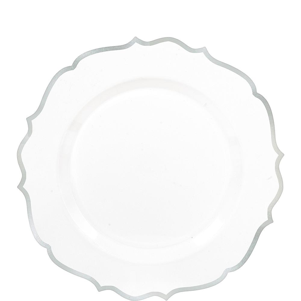 White Silver-Trimmed Ornate Premium Plastic Dessert Plates 20ct Image #1