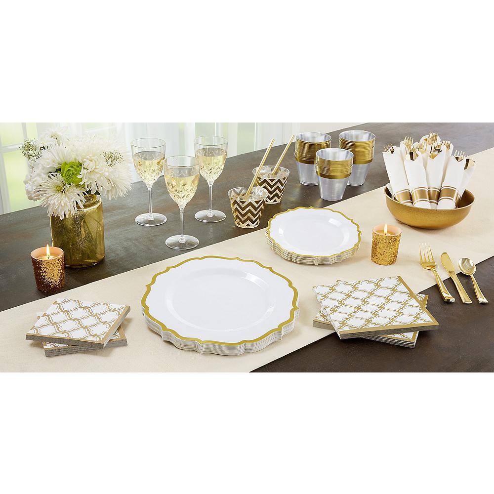 White Gold-Trimmed Ornate Premium Plastic Dessert Plates 20ct Image #2