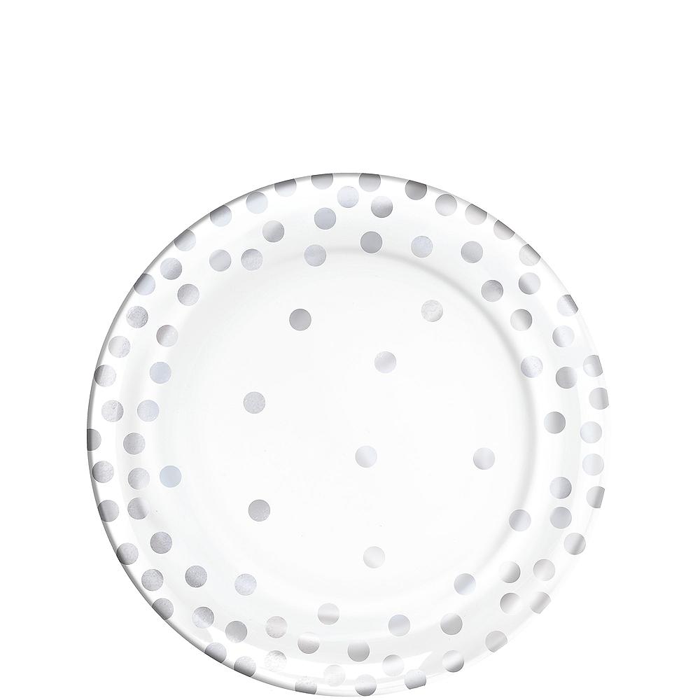 Silver Polka Dot Premium Plastic Appetizer Plates 20ct Image #1