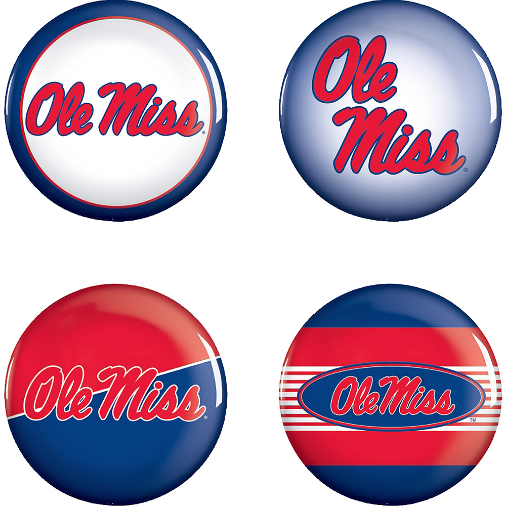 Ole Miss Rebels Buttons 4ct Image #1