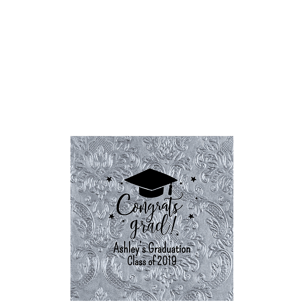 Personalized Graduation Embossed Damask Beverage Napkins  Image #1