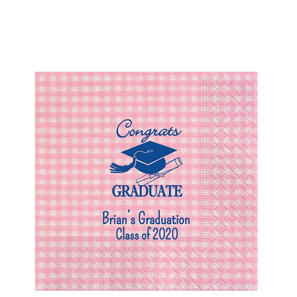 Personalized Graduation Gingham Lunch Napkins Image #1