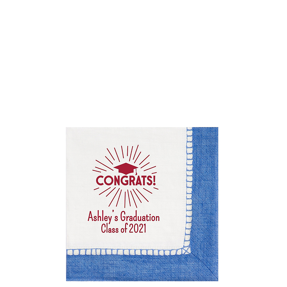 Personalized Graduation Bordered Beverage Napkins    Image #1