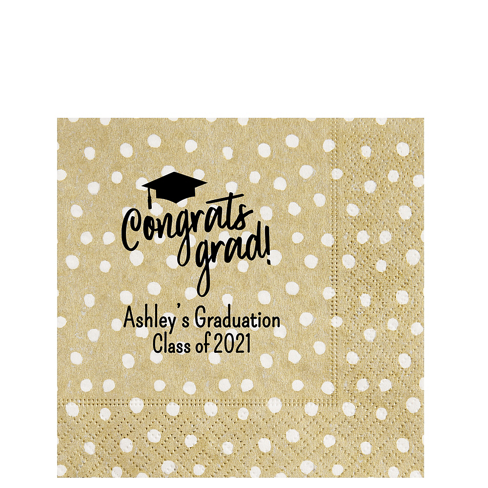 Personalized Graduation Small Dots Lunch Napkins  Image #1