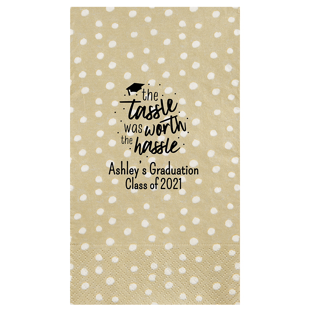 Personalized Graduation Small Dots Guest Towels    Image #1