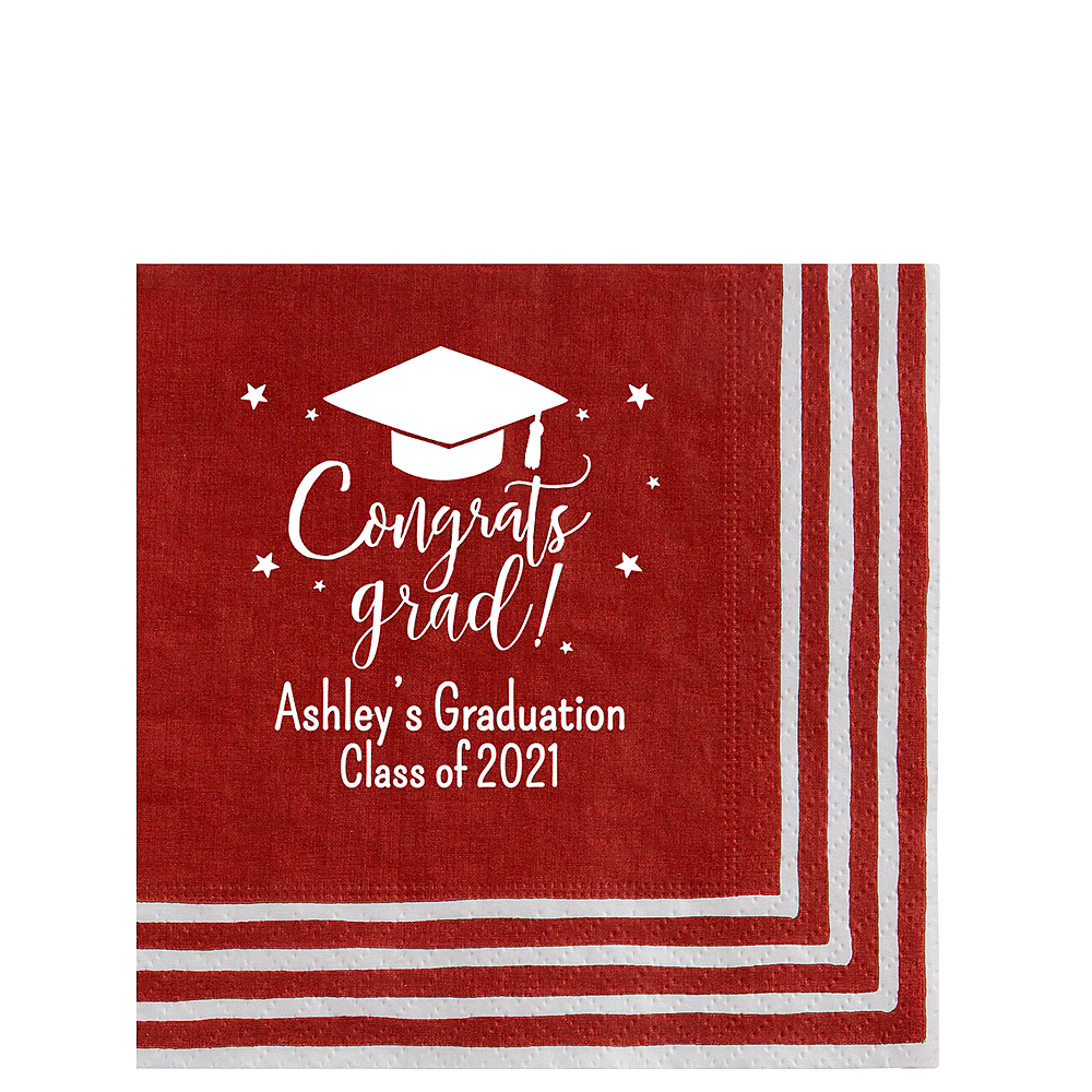 Personalized Graduation Striped Border Lunch Napkins    Image #1