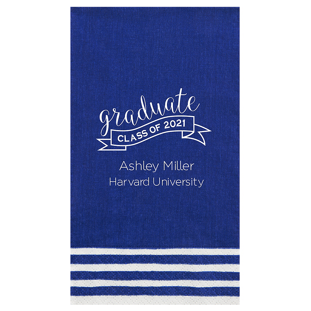 Personalized Graduation Striped Border Guest Towels  Image #1