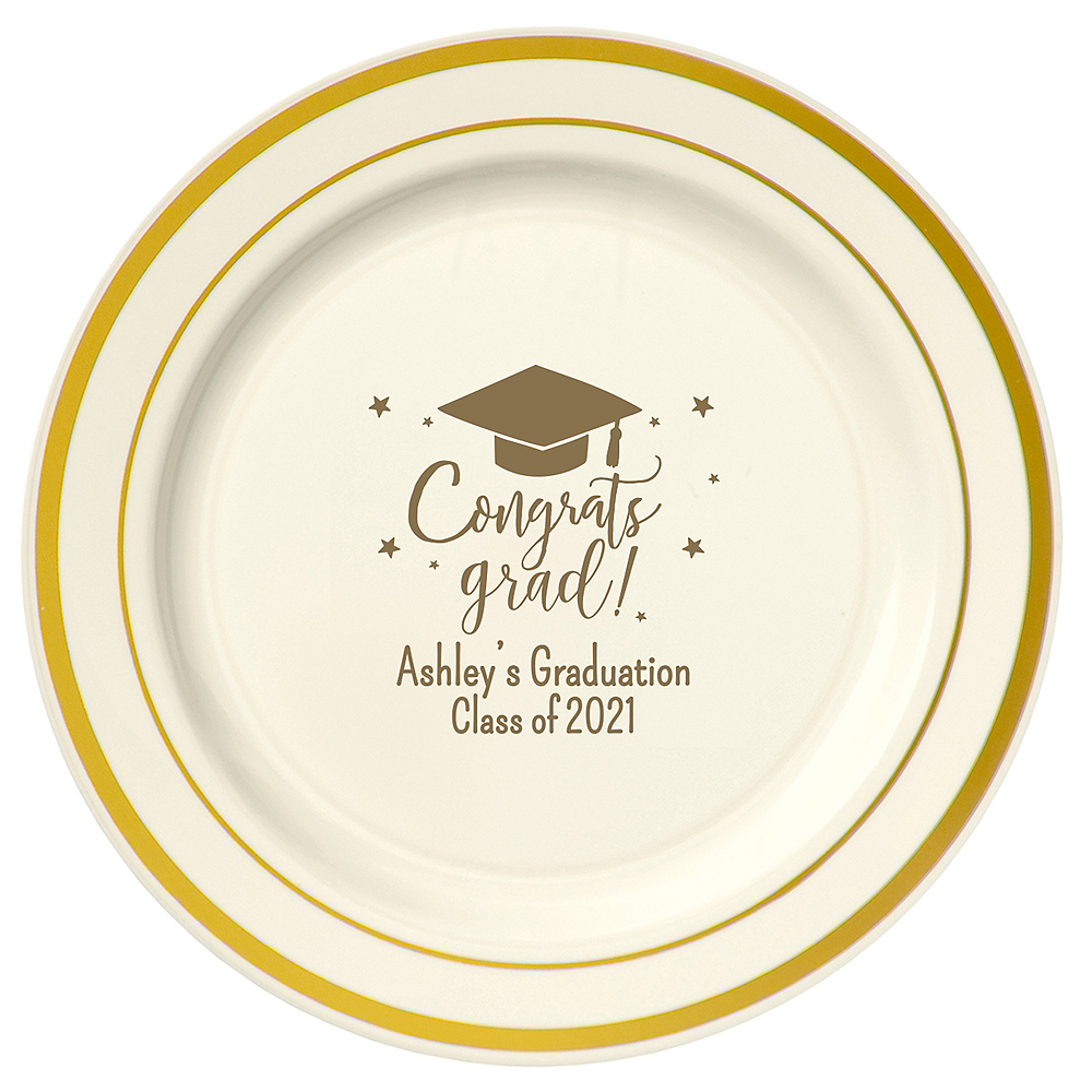 Personalized Graduation Trimmed Premium Plastic Dinner Plates    Image #1