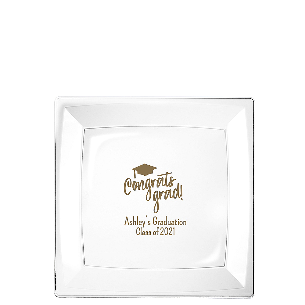 Nav Item for Personalized Graduation Premium Plastic Square Dessert Plates    Image #1