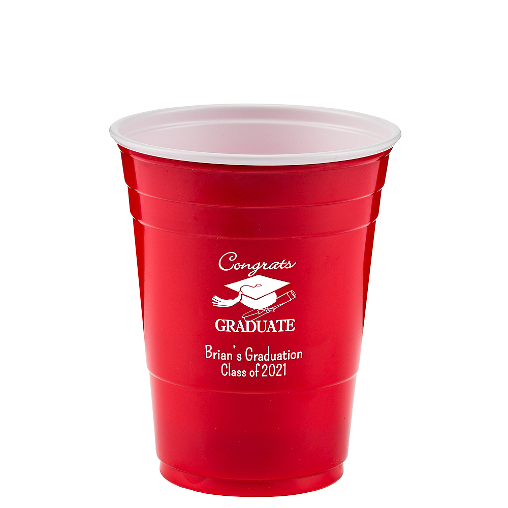 Personalized Graduation Solid Color Plastic Party Cups 16oz    Image #1