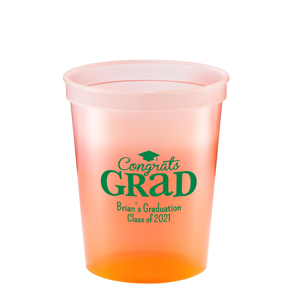 Personalized Graduation Color-Changing Plastic Stadium Cups 16oz    Image #1