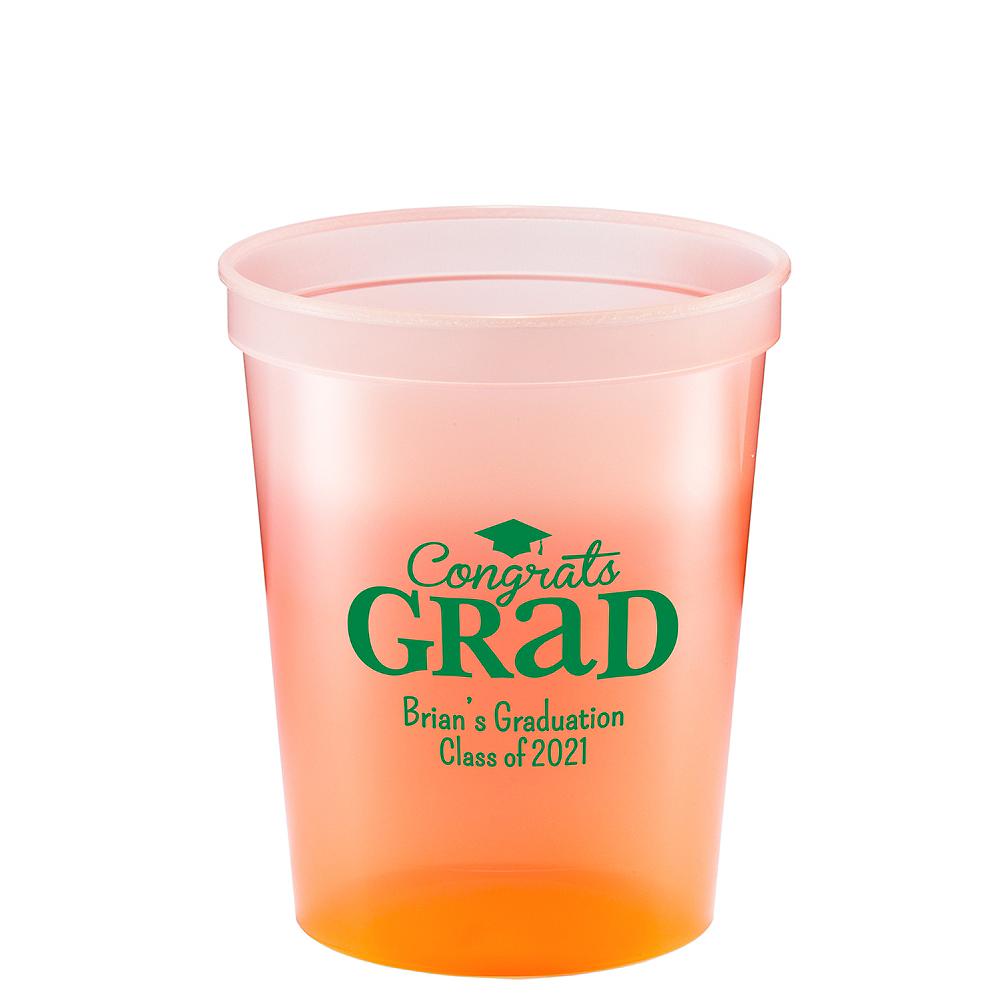 personalized graduation color changing plastic stadium cups 16oz