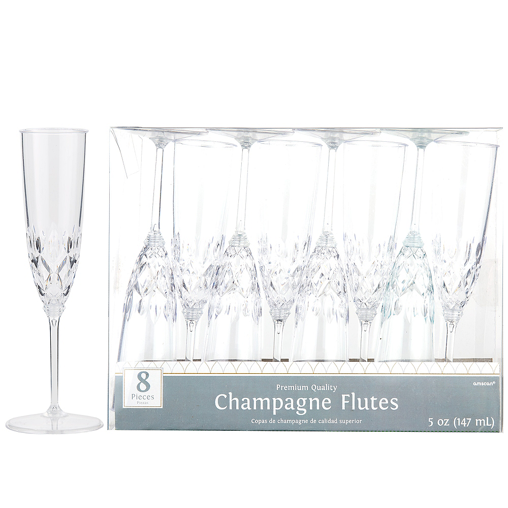 Nav Item for CLEAR Crystal Premium Plastic Champagne Flutes 8ct Image #1