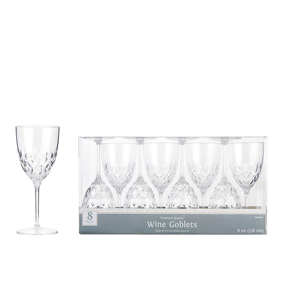 Clear Crystal Premium Plastic Wine Glasses 8ct Party City