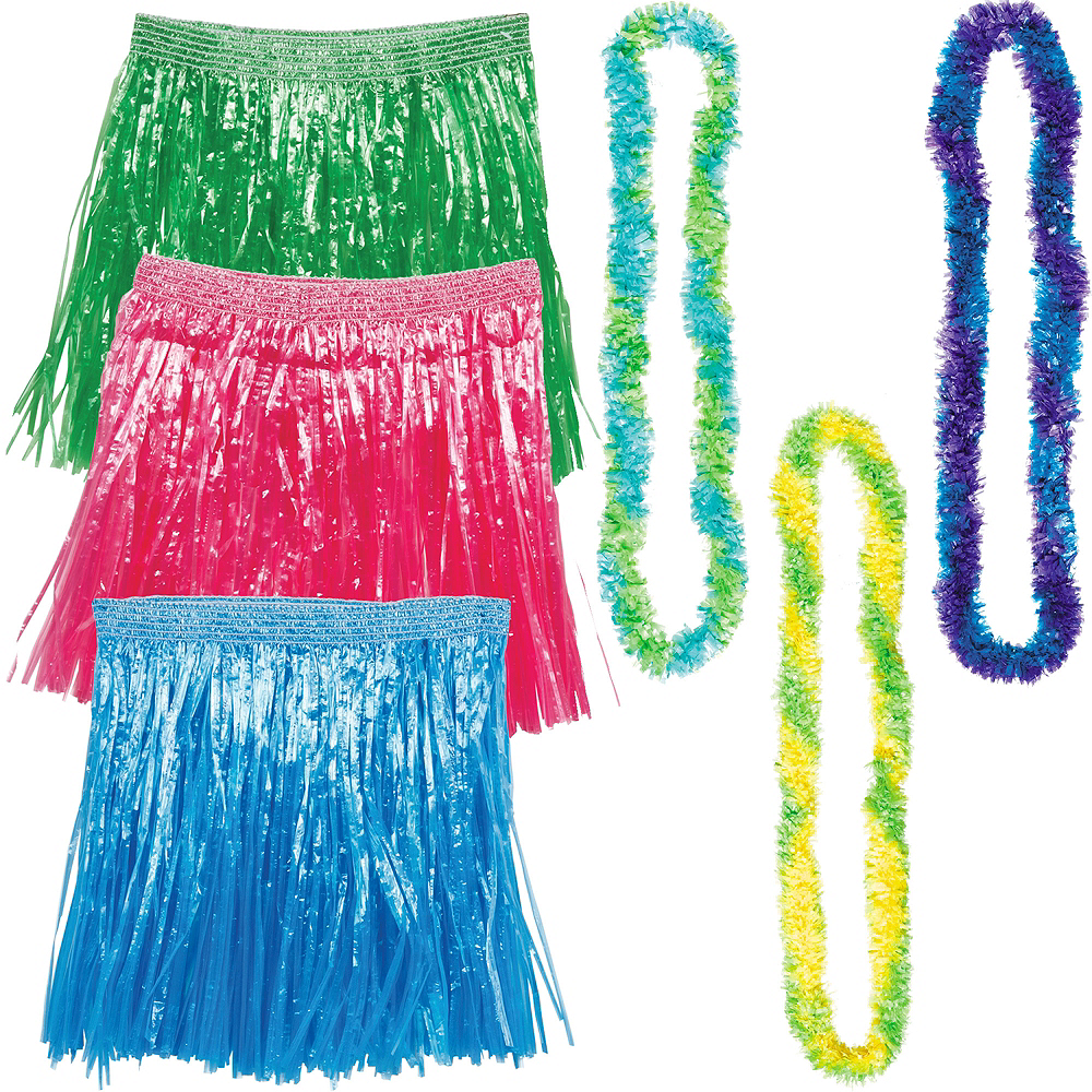 Adult Cool Luau Hula Skirt Costume Accessory Kit for 3 Guests Image #1