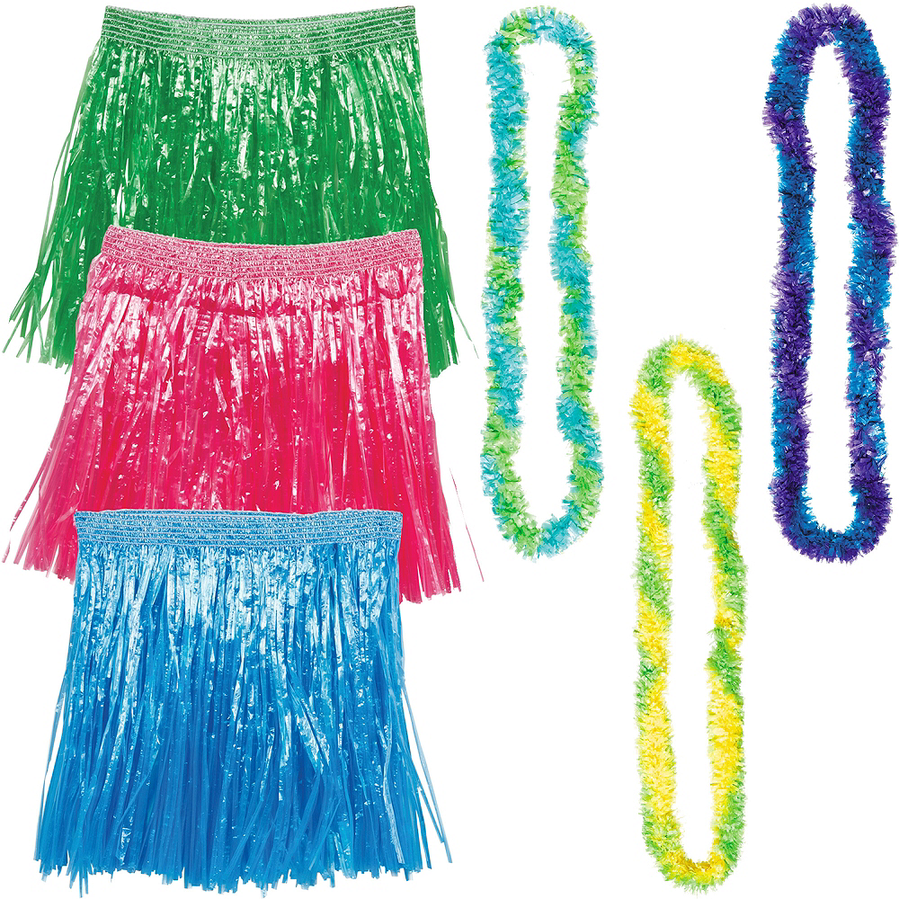 Child Cool Luau Hula Skirt Costume Accessory Kit for 3 Guests Image #1