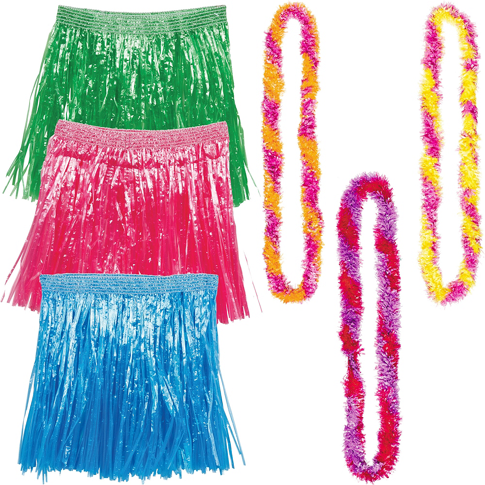 Child Warm Luau Hula Skirt Costume Accessory Kit for 3 Guests Image #1