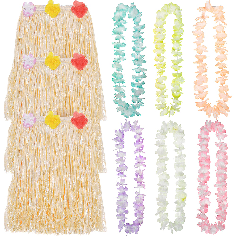 Adult Luau Hula Skirt Costume Accessory Kit for 6 Guests Image #1