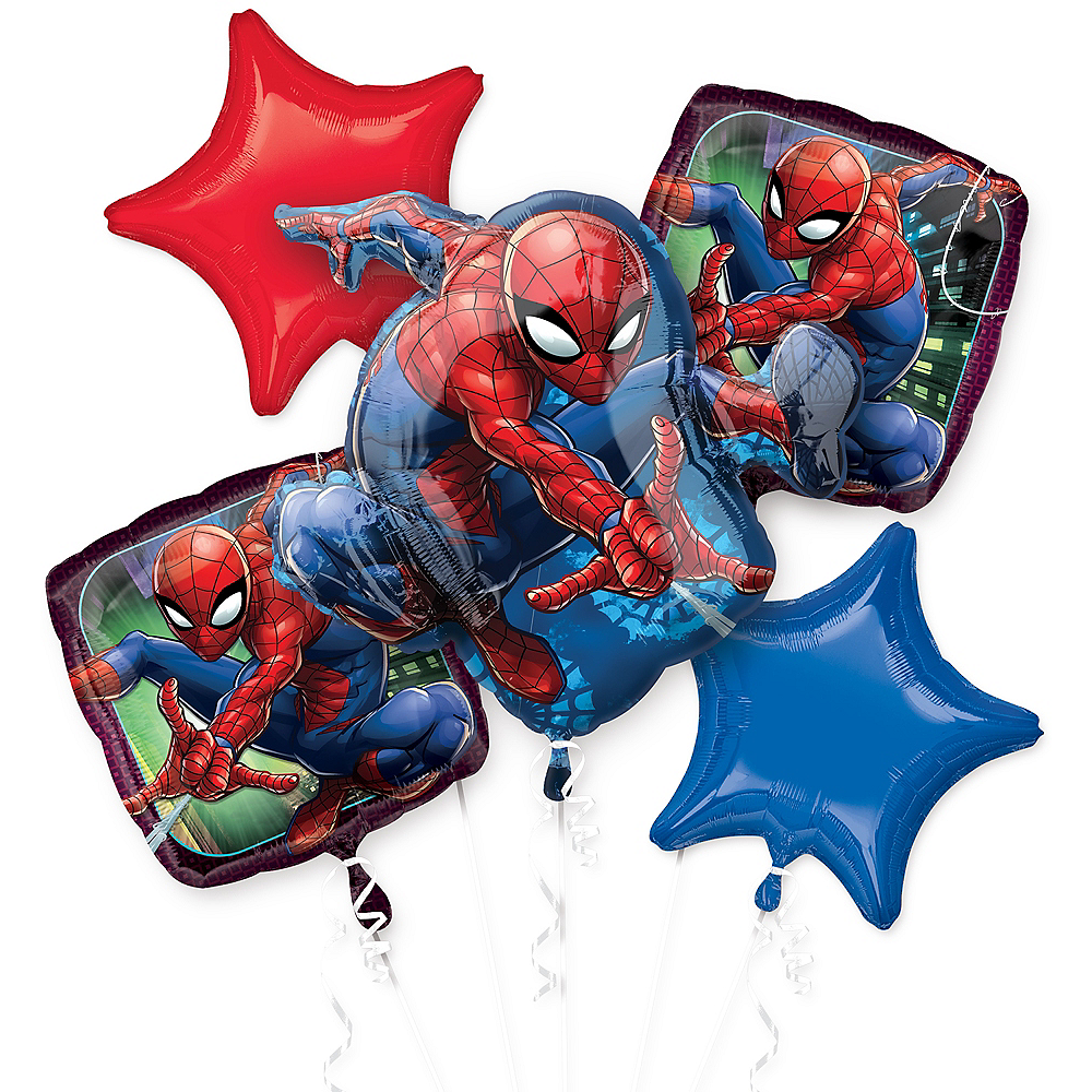 Spider-Man Webbed Wonder Balloon Bouquet 5pc Image #1