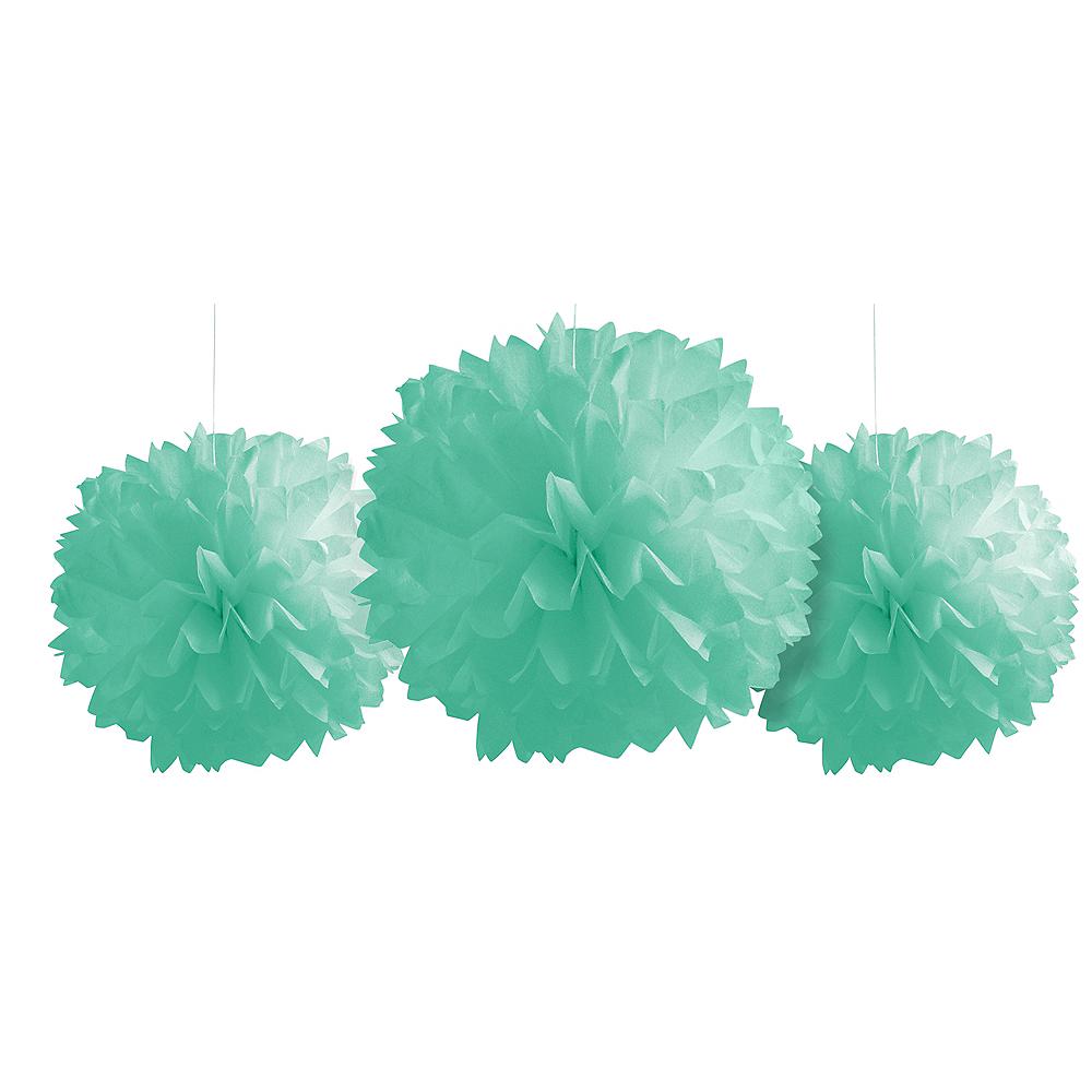 Mint Green Tissue Pom Poms 3ct Image #1