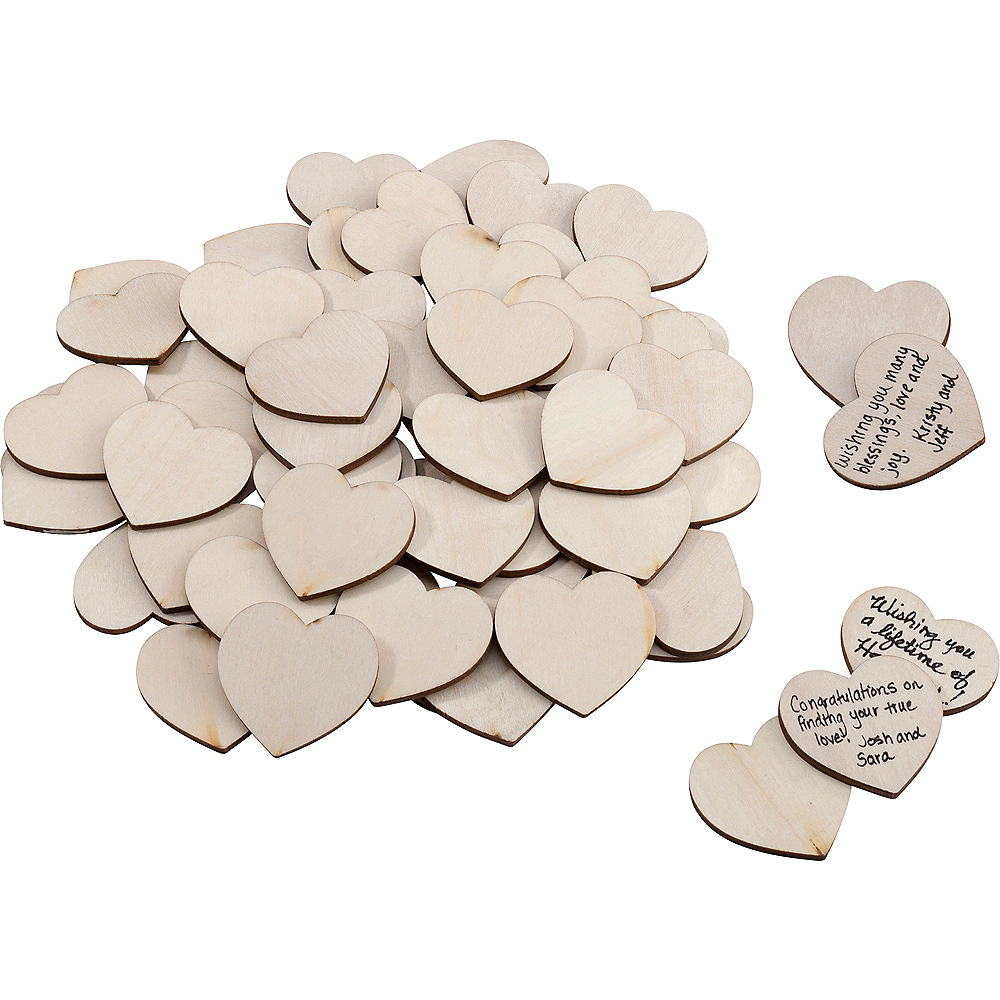 Wooden Signing Hearts 48ct Image #1