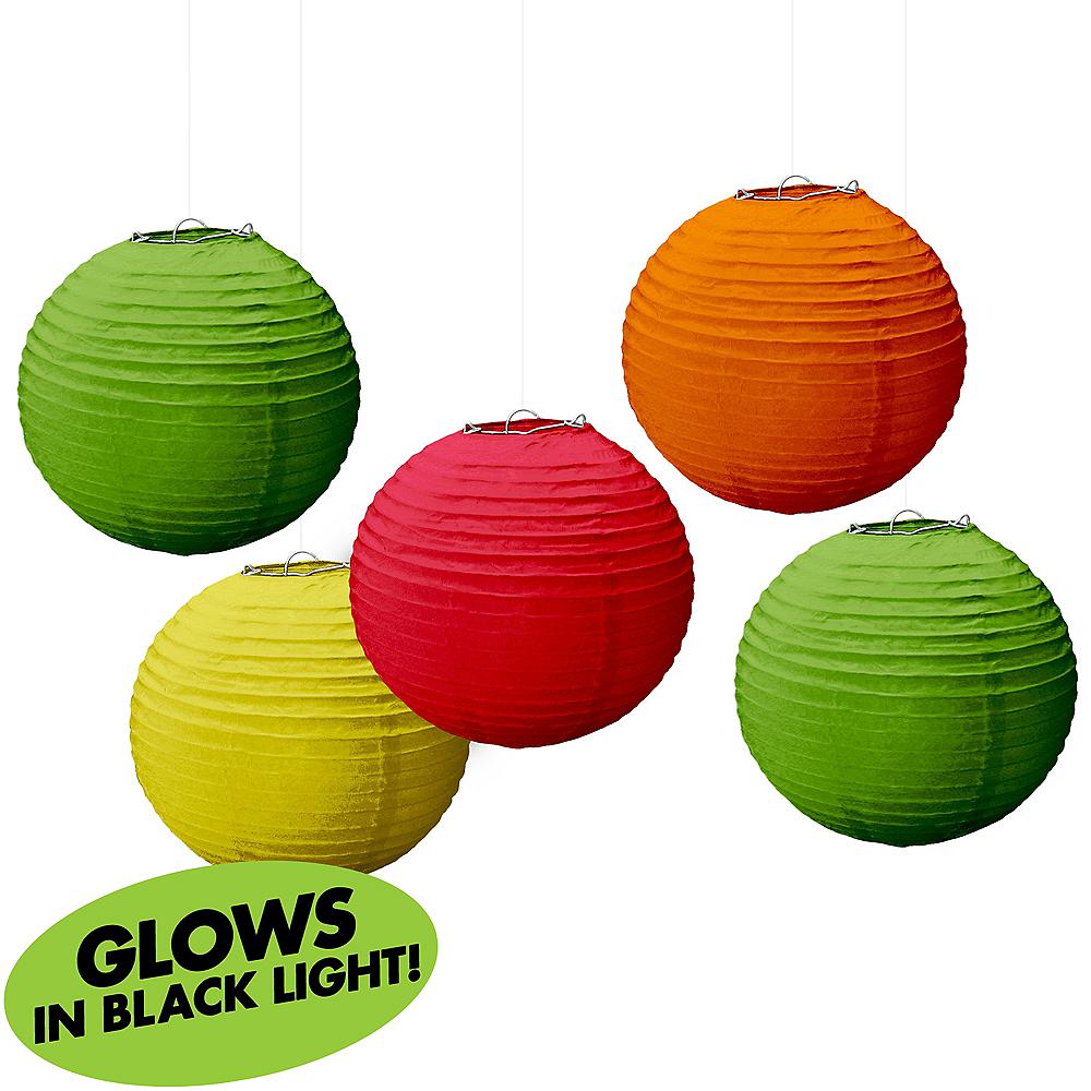 Mini Black Light Neon Paper Lanterns 5ct Image #1
