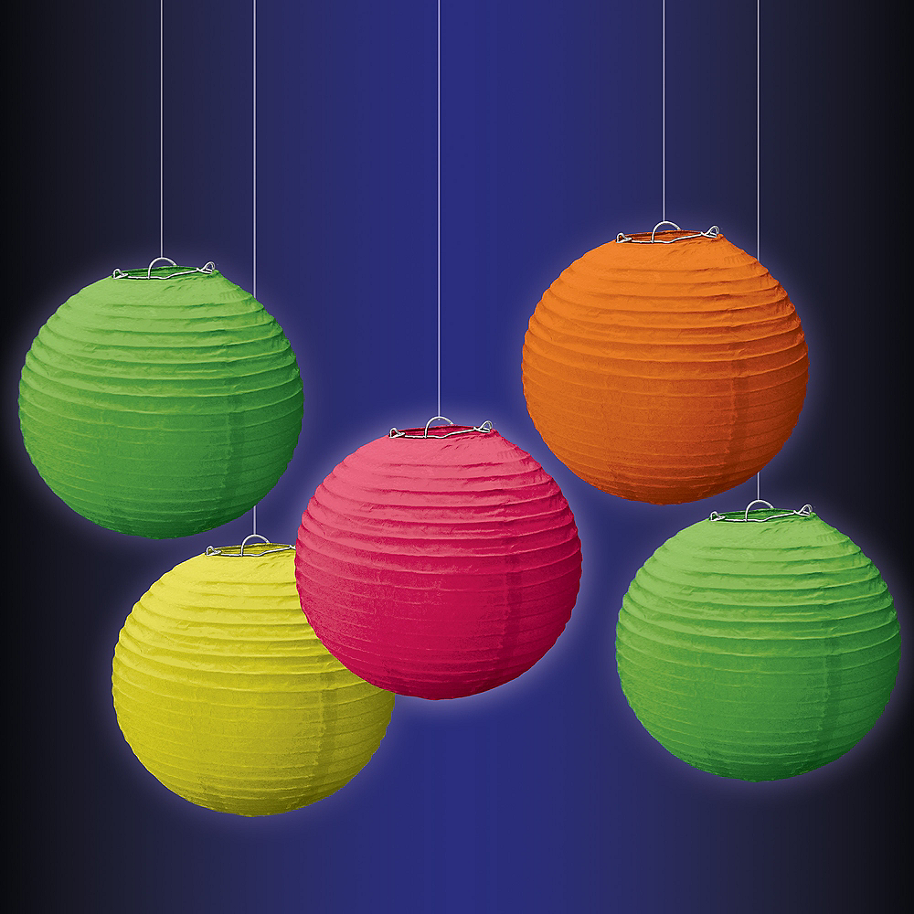 Mini Black Light Neon Paper Lanterns 5ct Image #2