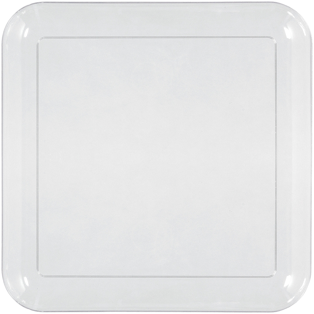 Big Party Pack CLEAR Plastic Square Lunch Plates 24ct Image #1