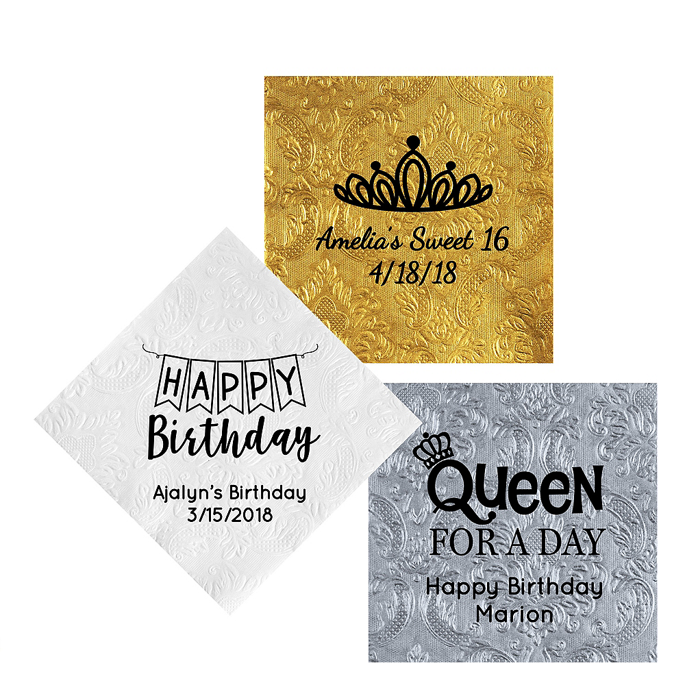 Personalized Birthday Embossed Damask Lunch Napkins Image #1