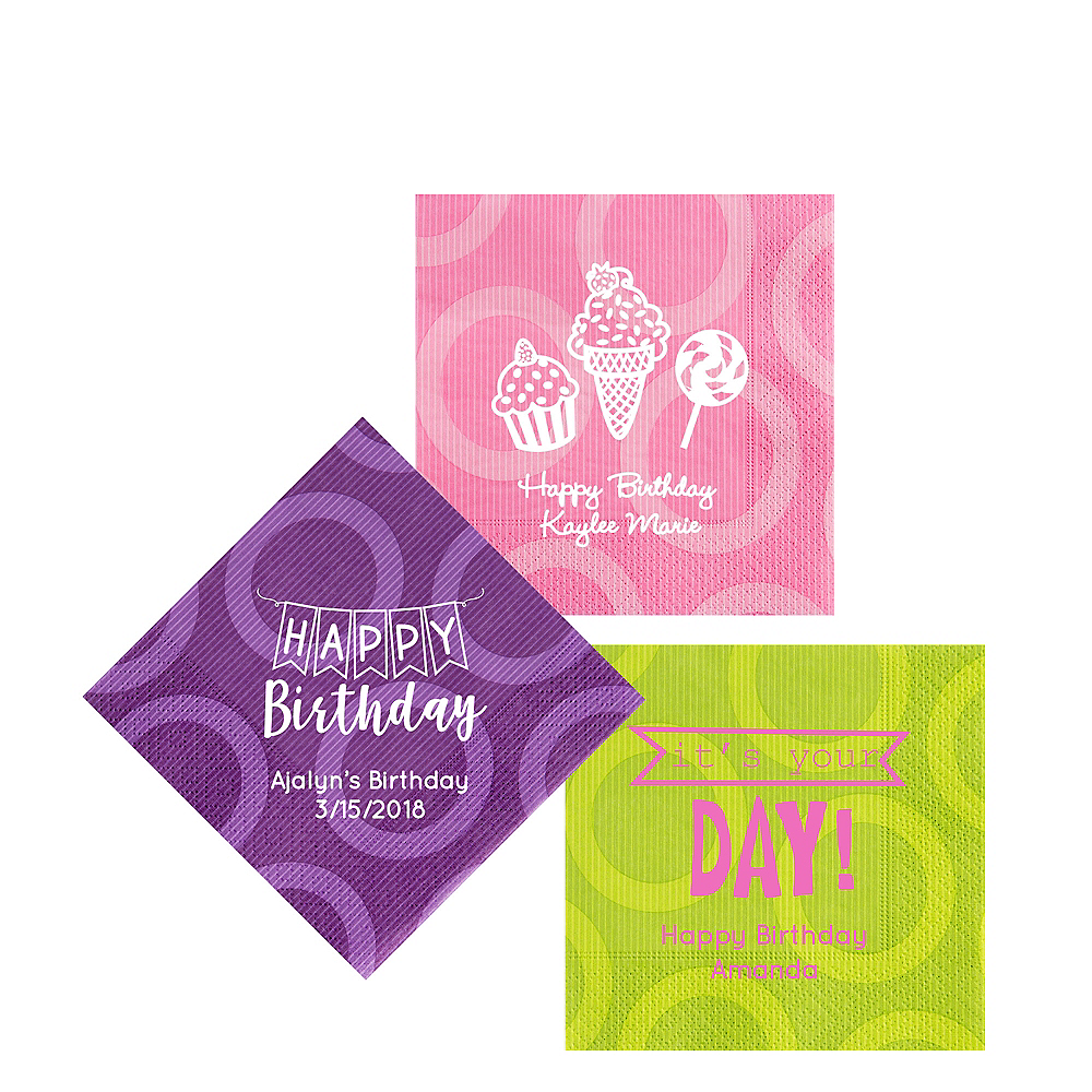 Personalized Birthday Circles Beverage Napkins Image #1