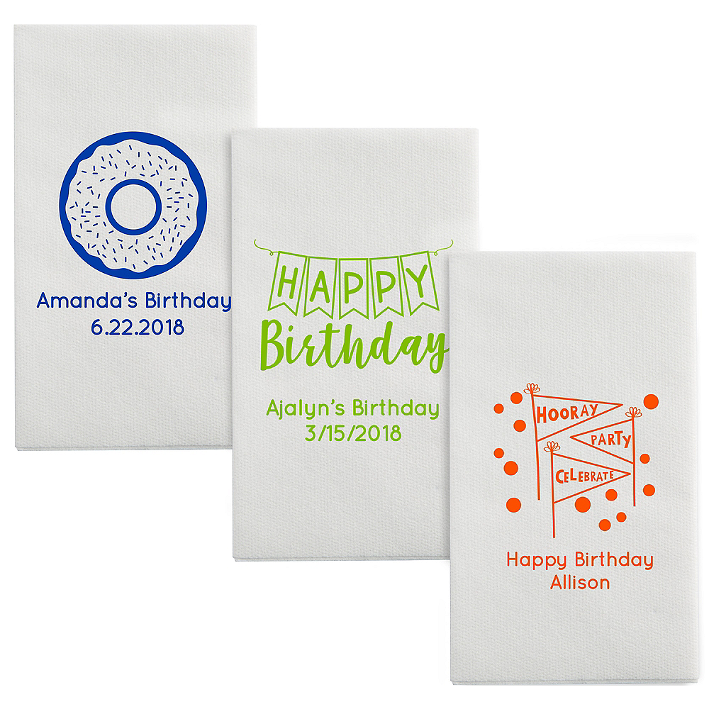 Personalized Birthday Luxury Deville Side-Fold Dinner Napkins Image #1