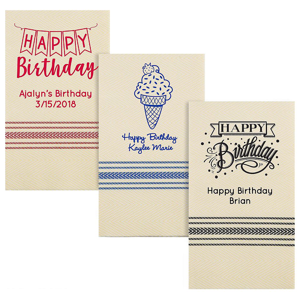 Personalized Birthday Herringbone Guest Towels Image #1