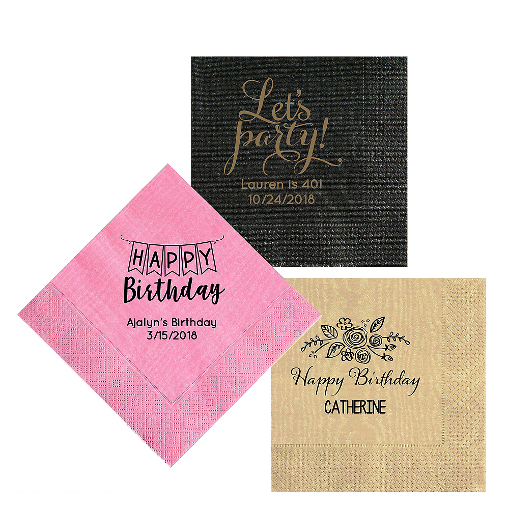 Personalized Birthday Moire Lunch Napkins Image #1