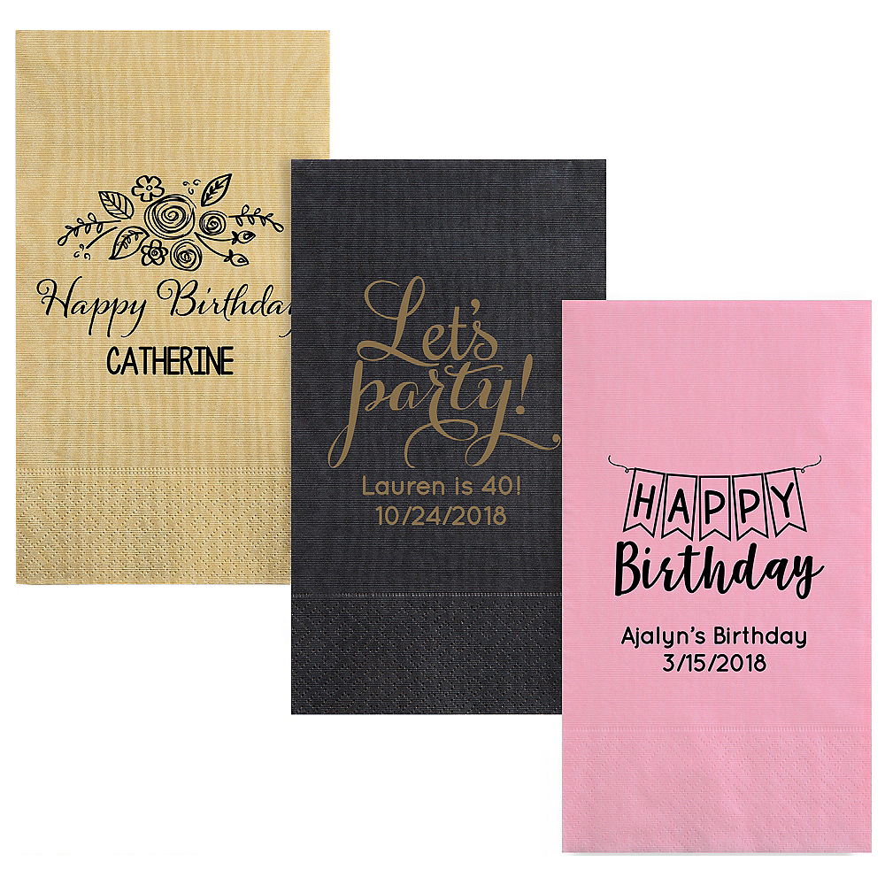 Personalized Birthday Moire Guest Towels Image #1