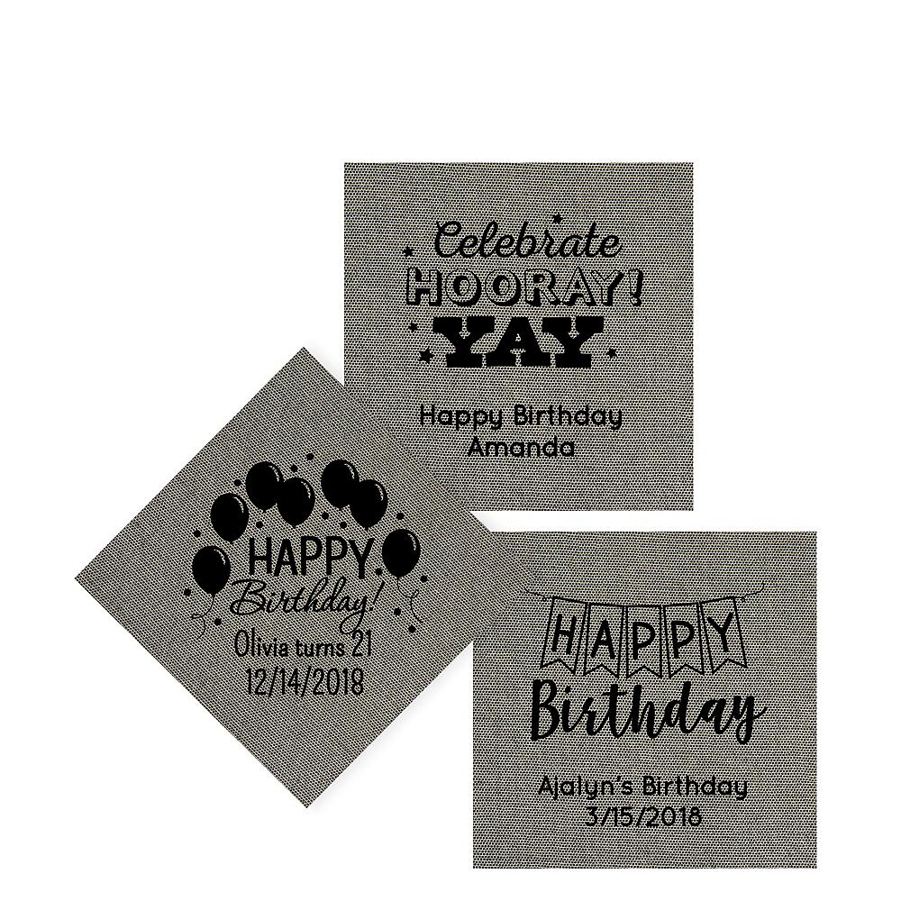 Personalized Birthday Tweed Print Beverage Napkins Image #1