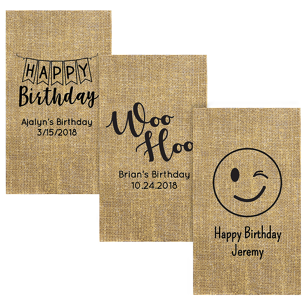 Personalized Birthday Burlap Print Guest Towels Image #1