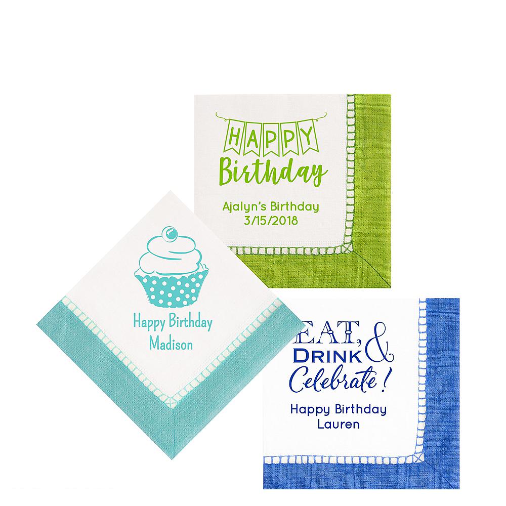 Personalized Birthday Bordered Beverage Napkins Image #1