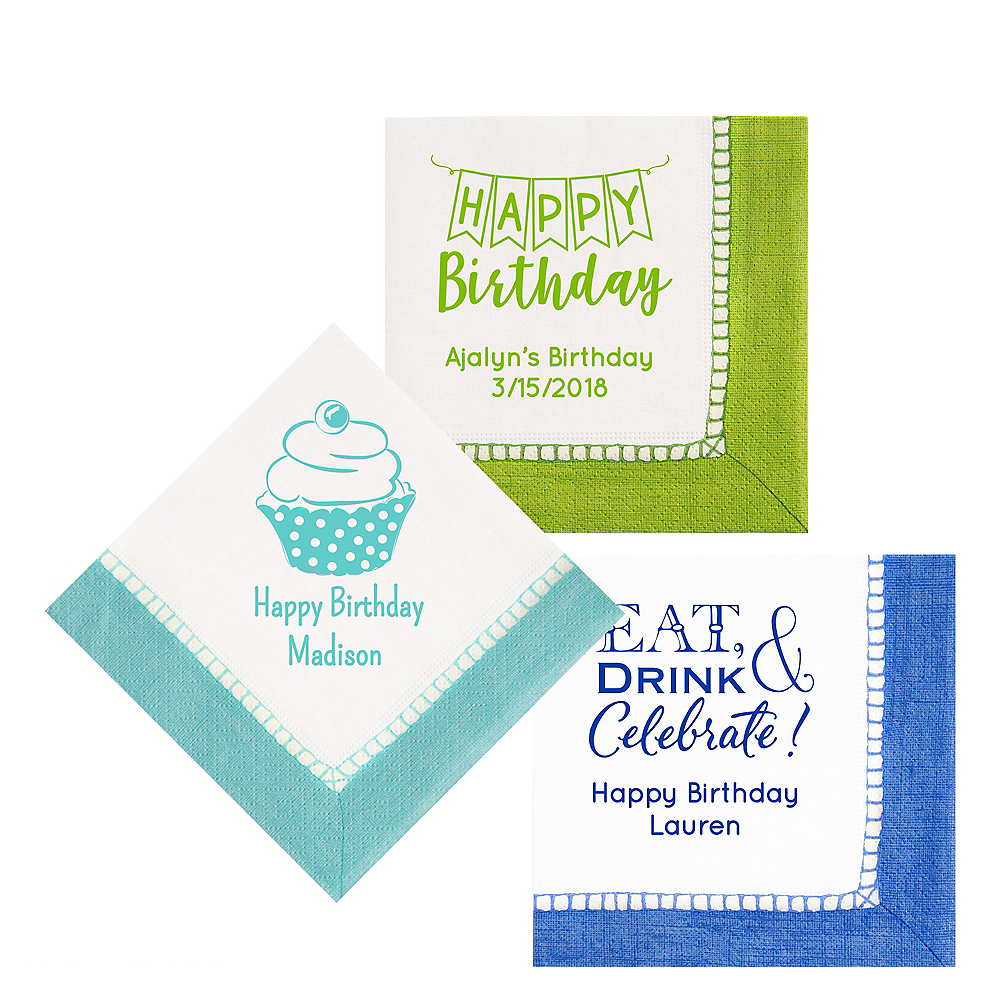 Personalized Birthday Bordered Lunch Napkins Image #1