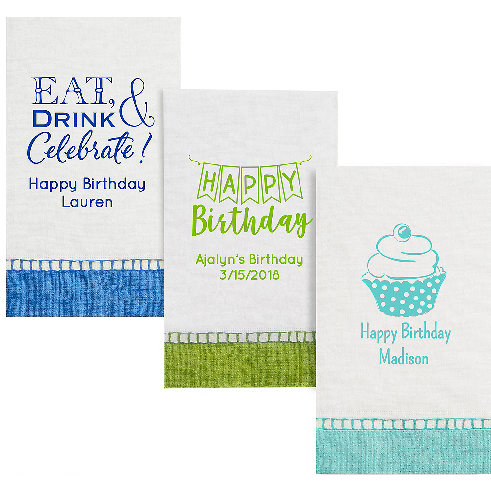 Personalized Birthday Bordered Guest Towels Image #1