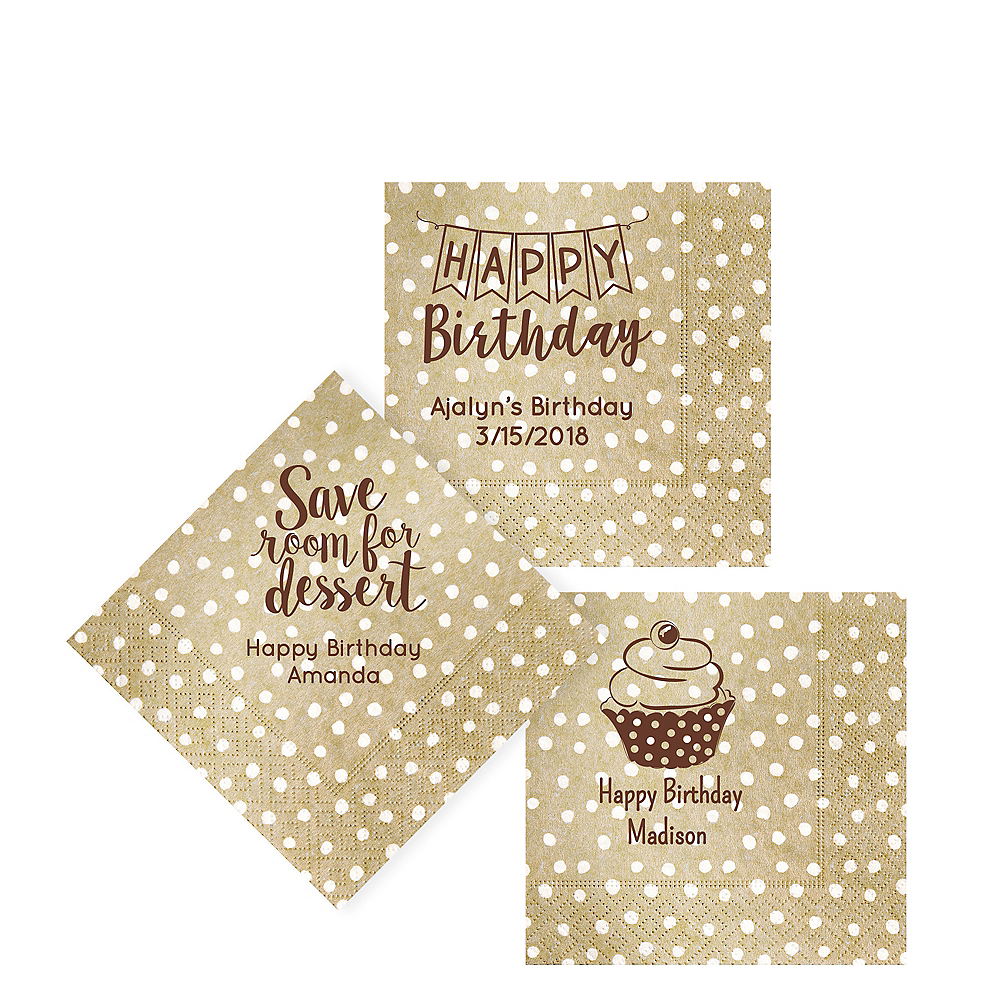 Personalized Birthday Small Dots Beverage Napkins Image #1