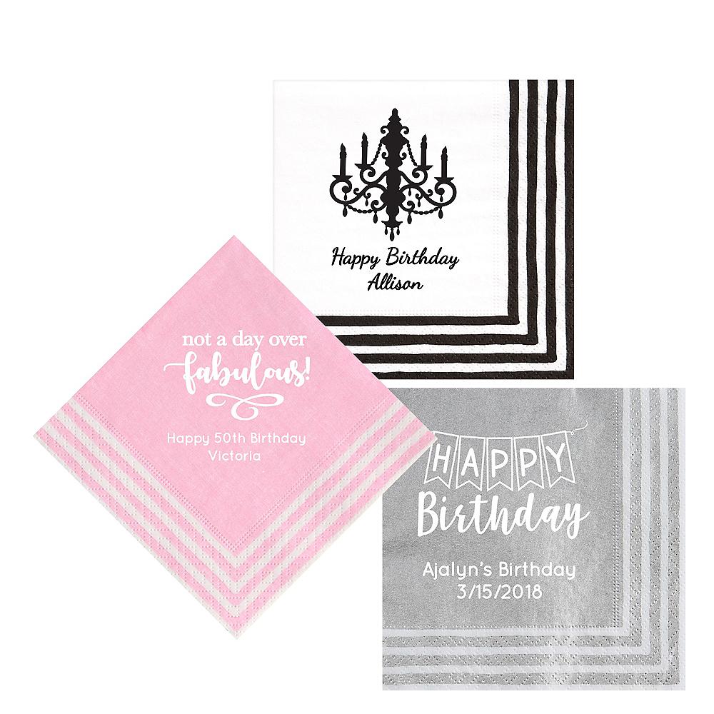 Personalized Birthday Stripe Border Lunch Napkins Image #1