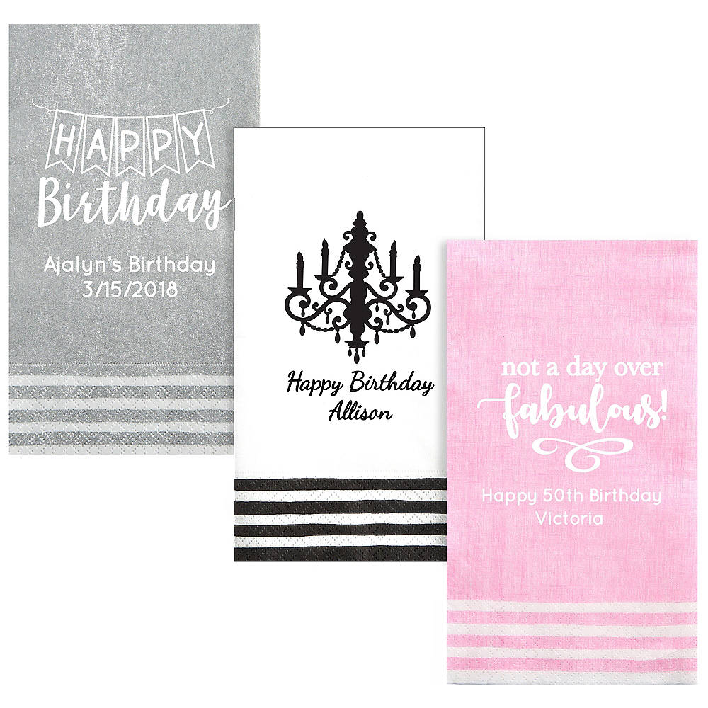 Personalized Birthday Stripe Border Guest Towels Image #1