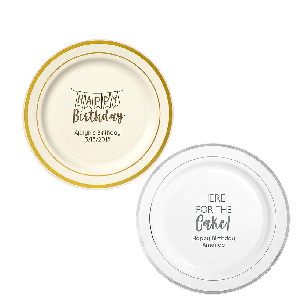 Personalized Birthday Trimmed Premium Plastic Dinner Plates Image #1