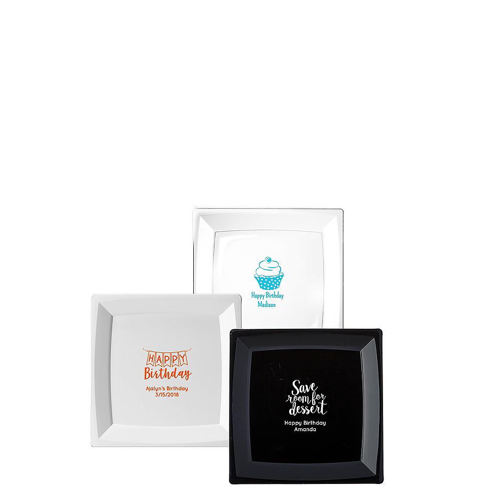 Personalized Birthday Premium Plastic Square Appetizer Plates Image #1