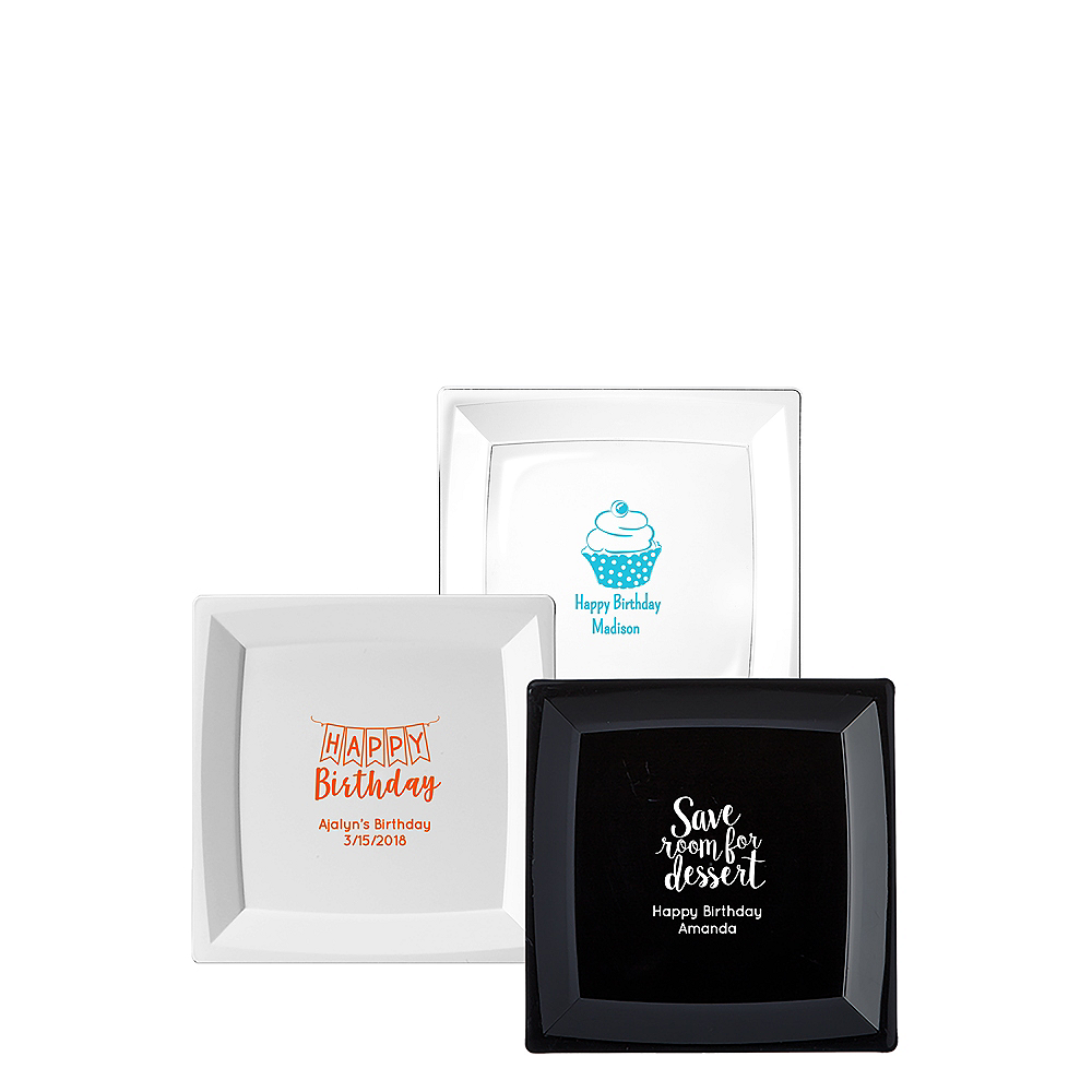 Personalized Birthday Premium Plastic Square Dessert Plates Image #1