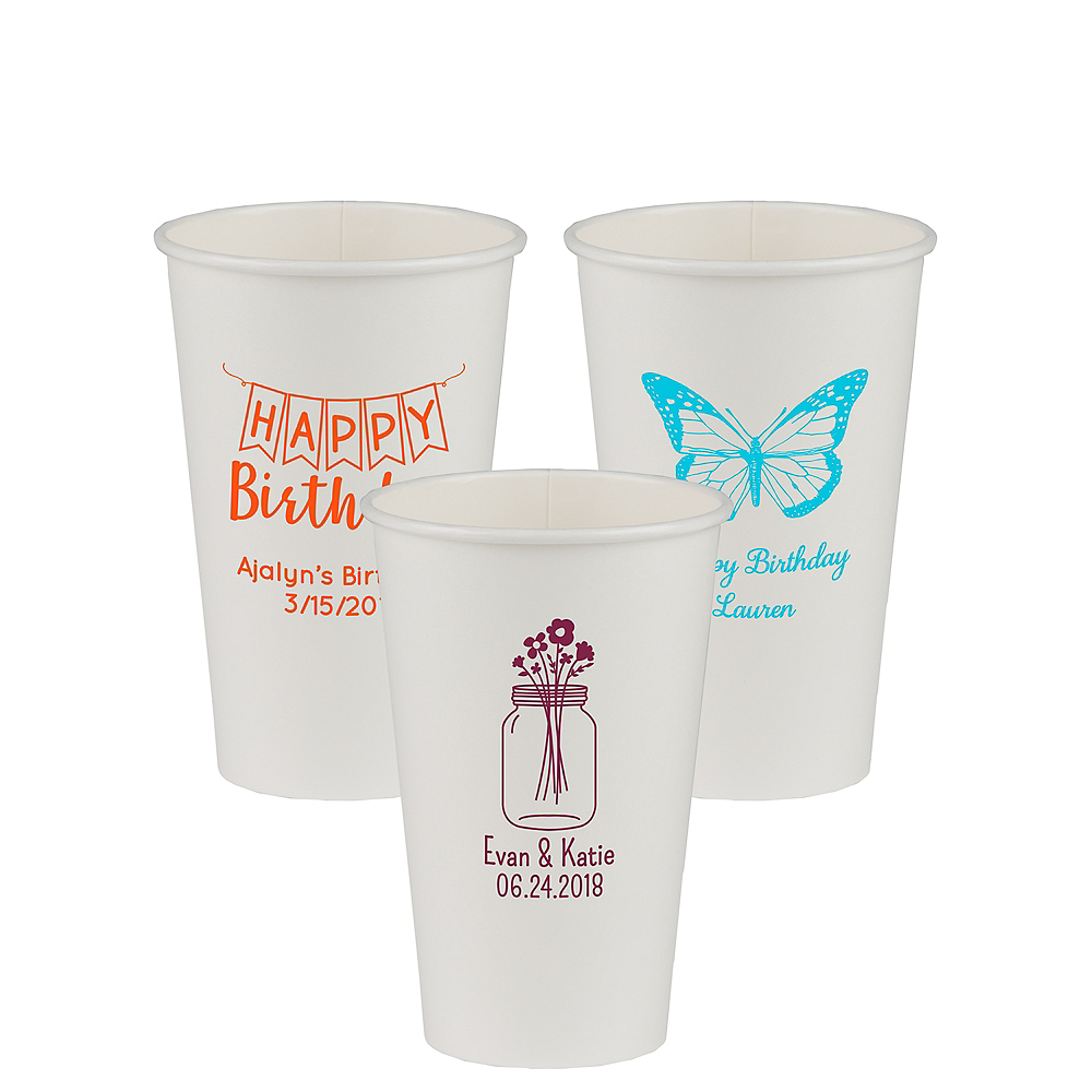 Personalized Birthday Paper Cups 16oz Image #1