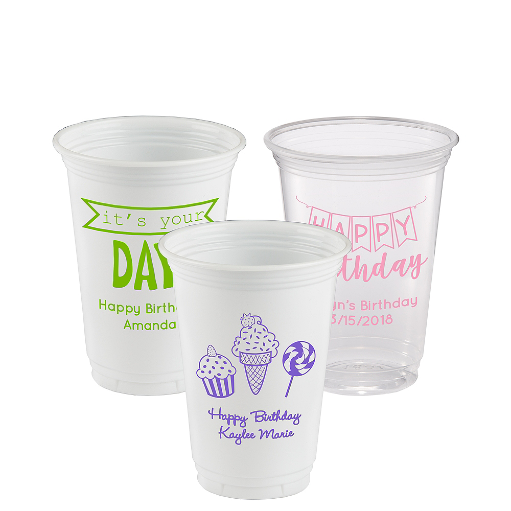 Personalized Birthday Plastic Party Cups 16oz Image #1